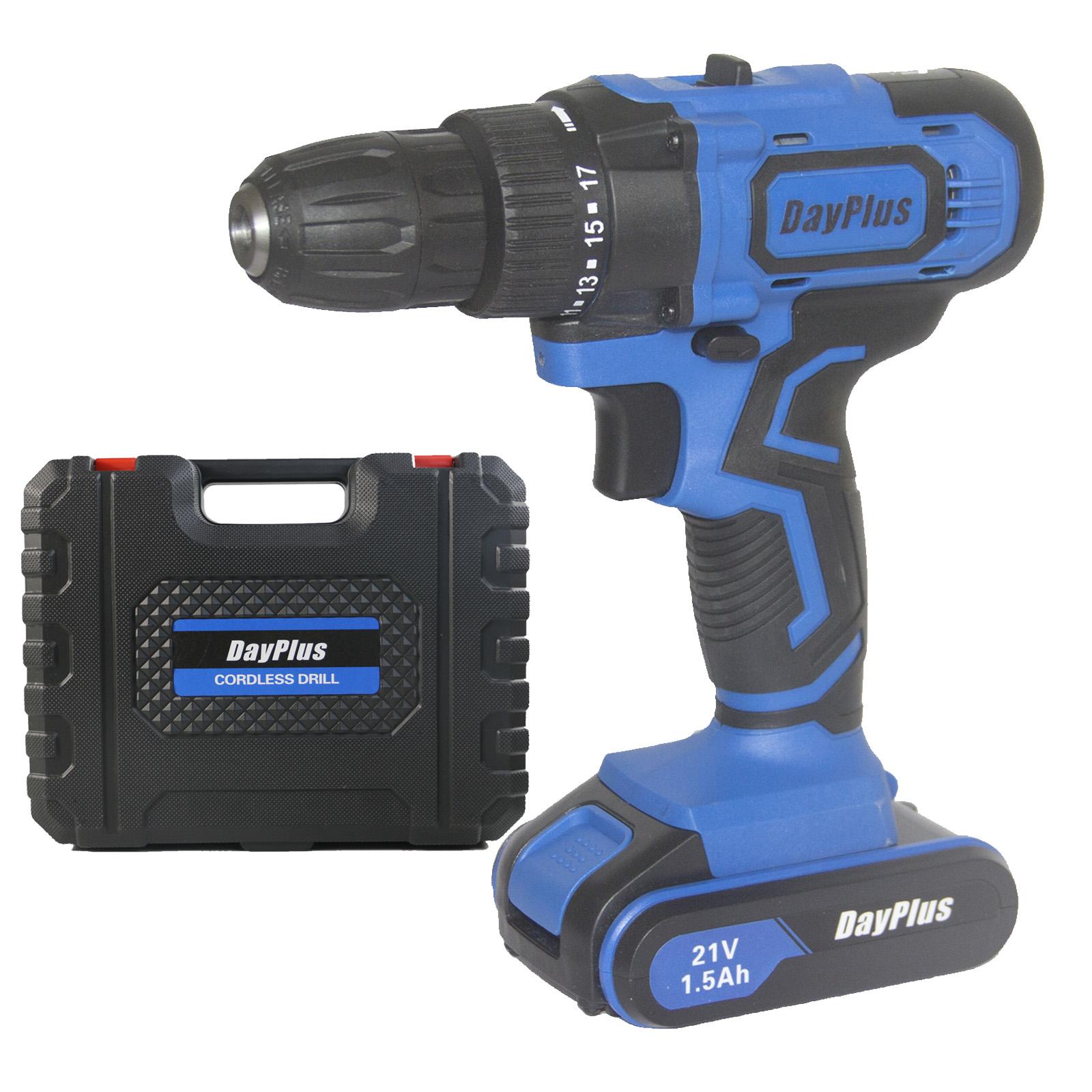 "DAYPLUS 21V 21 Volt 2 Speed 3//8/"" Lithium Ion Max Drill Driver Cordless Drill Set"