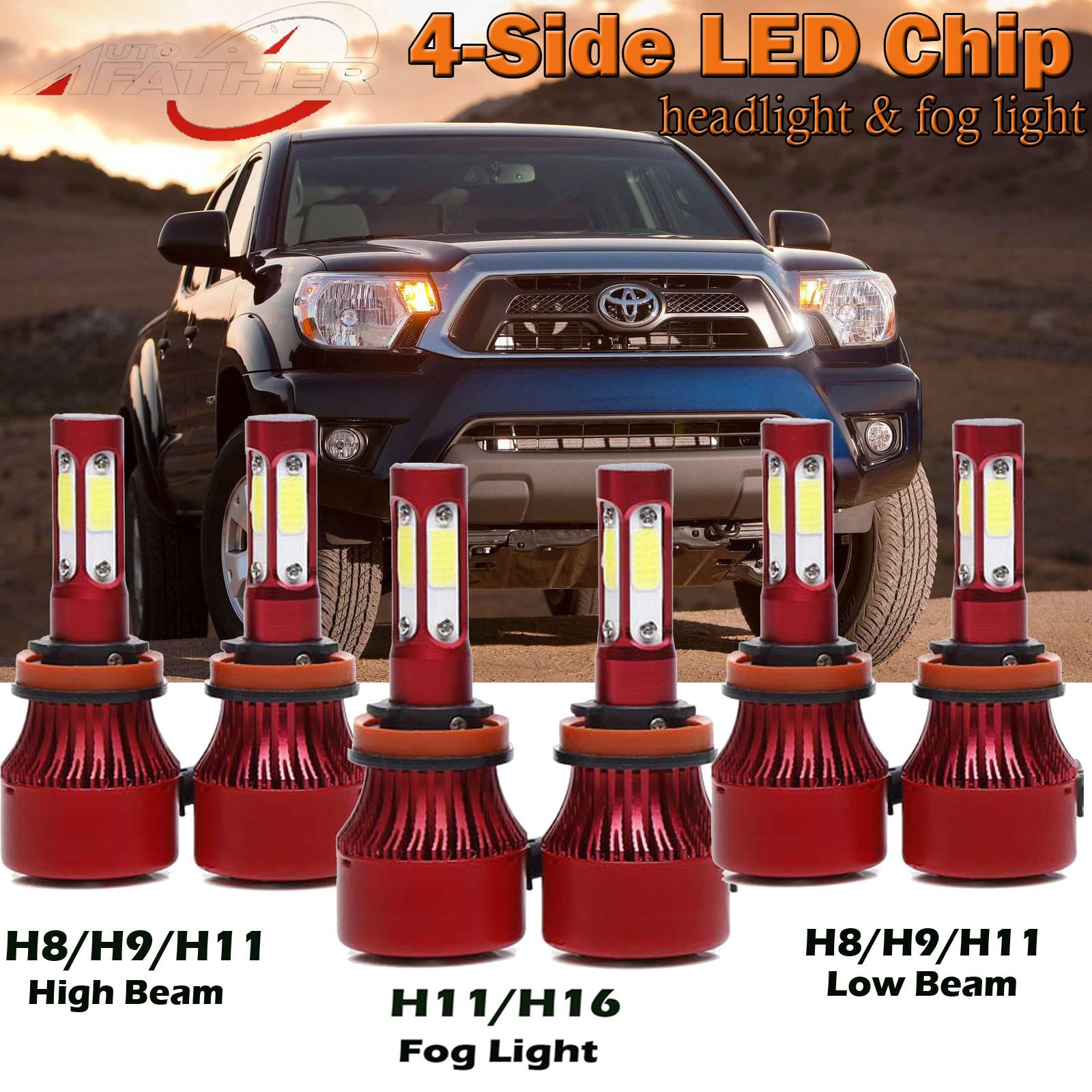 6x H11 H8 H9 LED Headlight High Low Fog Bulbs Kit for Toyota Tacoma 2016-2018