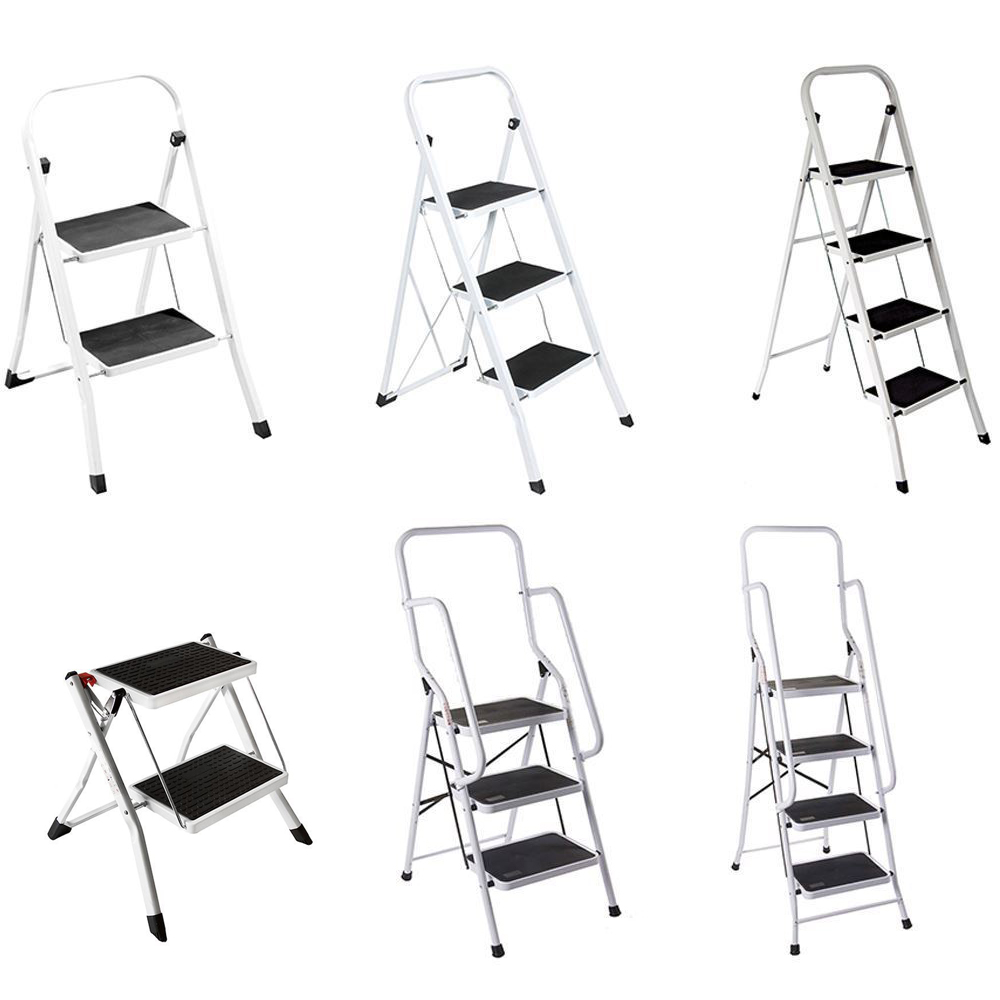 details about 2 step ladder folding stool heavy duty 150kg industrial  lightweight workshop uk