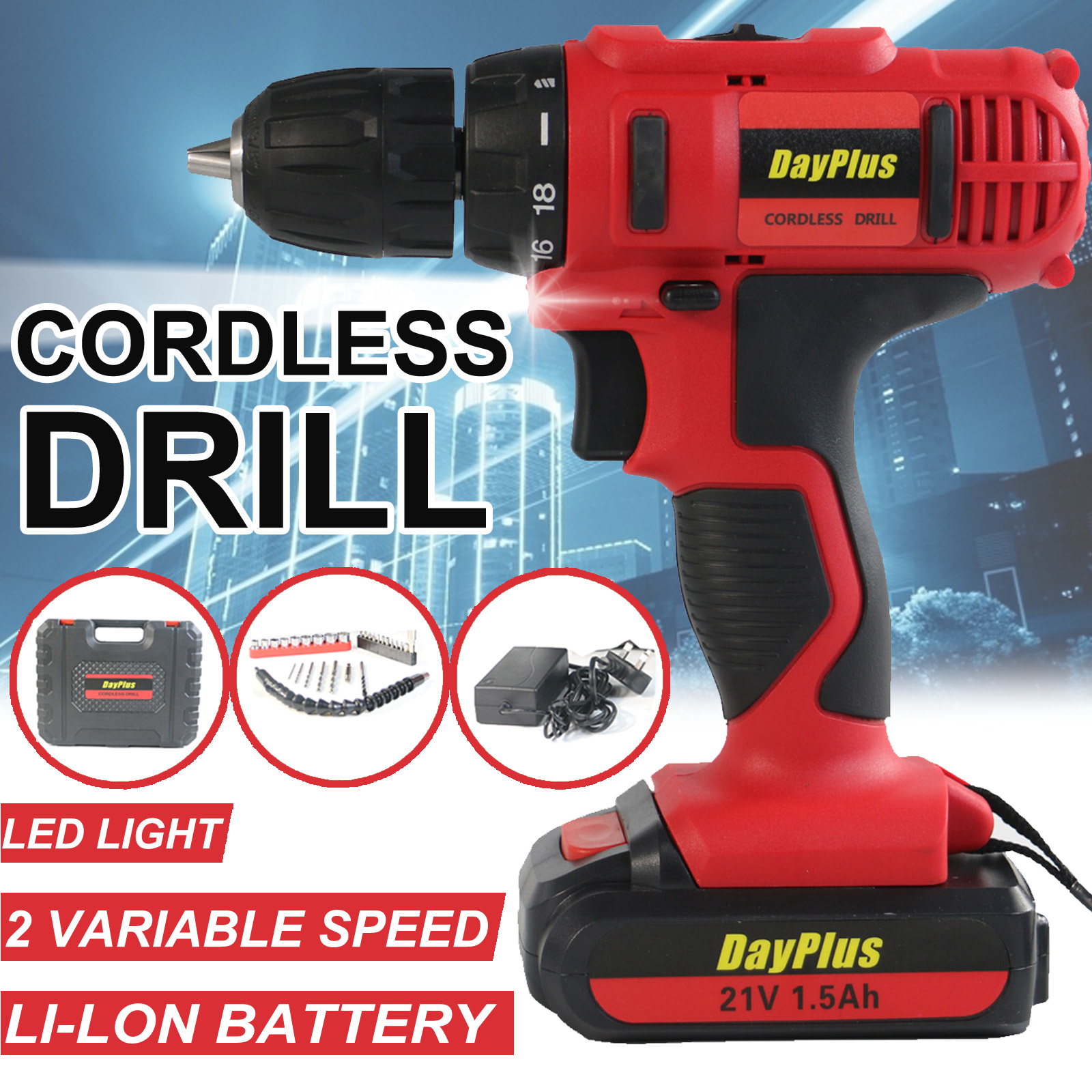 29PCS Accessories 21V Portable Cordless Power Drill Set Impact Screw Driver with 1500mAh Li-Ion Rechargeable Battery 18+1 Torque Setting 45N.m Variable Speed Control with LED Light Carrying Case