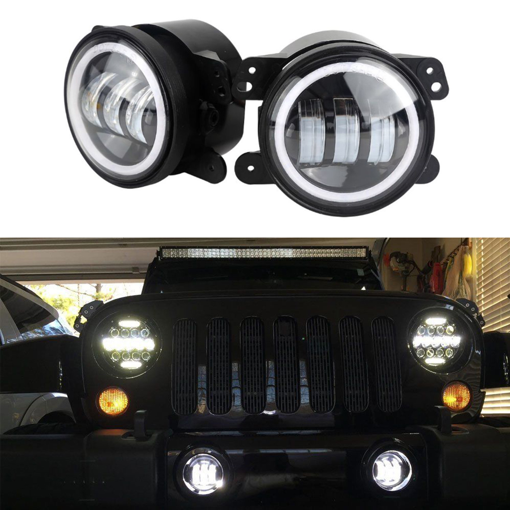 "2x 4/"" Inch 30W LED Fog Lights /& Halo Angle Eyes For 07-18 Jeep Wrangler JK Dodge"