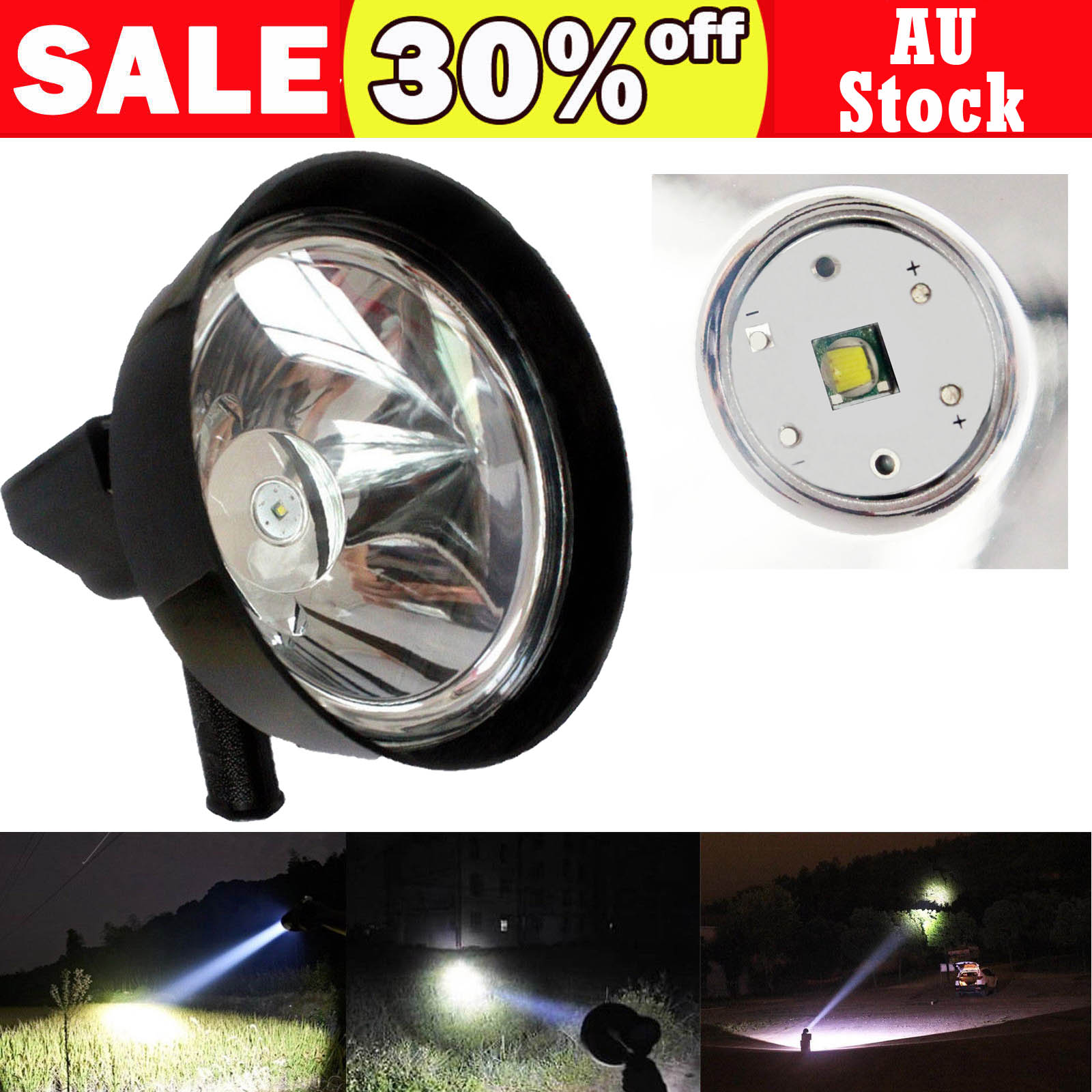 190000LM Spotlight Handheld LED Flashlight Rechargeable Lamp Torch Searchlight