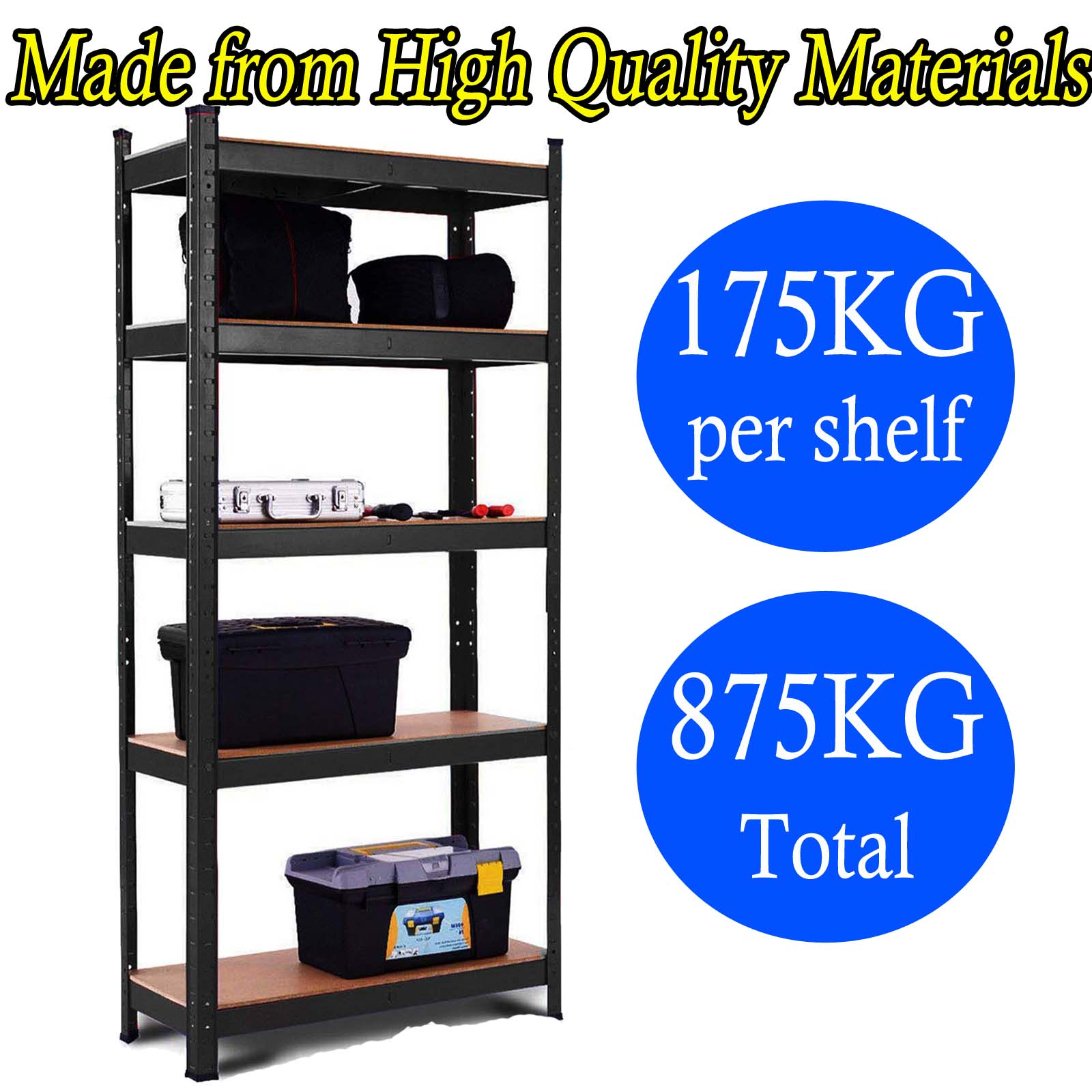 1.5//1.8M 5-Tier garage shed racking storage shelving units Max 875KG Extra Wide