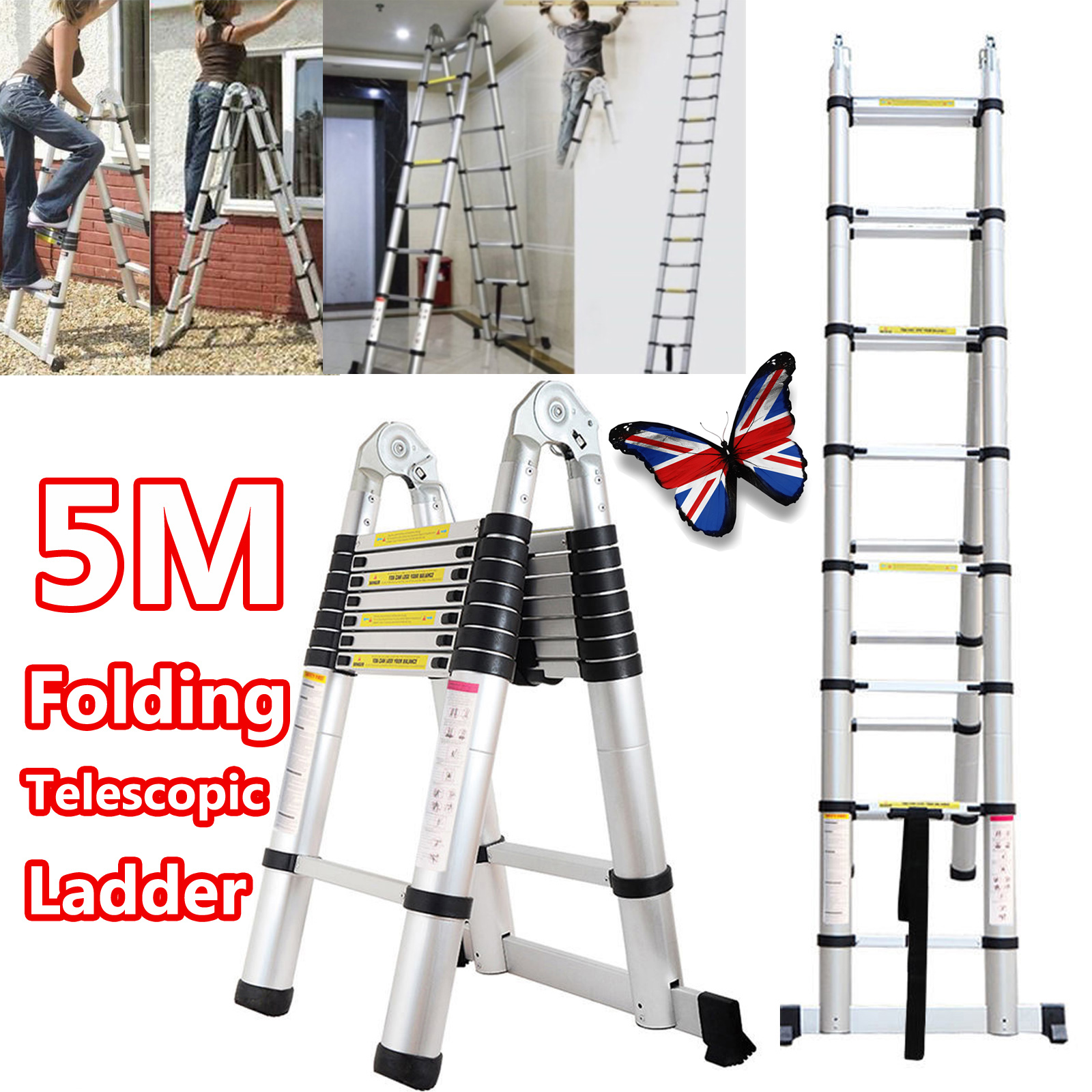 A Frame 5m Multipurpose Telescopic Collapsible Aluminium 16 Step ...