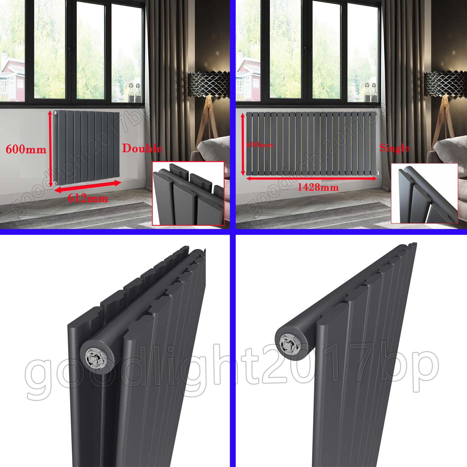 Ideal For Bathroom Living Room Modern Central Heating Radiators Hallway Kitchen Column Radiator Anthracite 600x612mm Double Panel Heater Designer Vertical Radiator Wall Mounted Building Supplies Heating Cooling