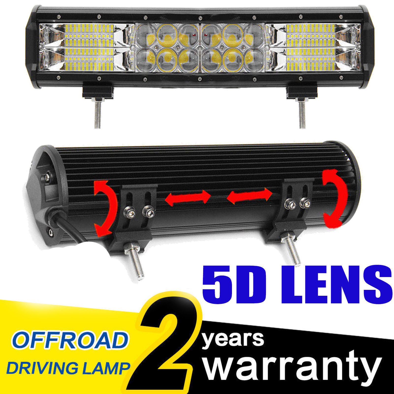 5d 360w Led Work Light Boat Offroad Driving Bar Lamp Suv 240w 12 15 Wiring Lights Inch