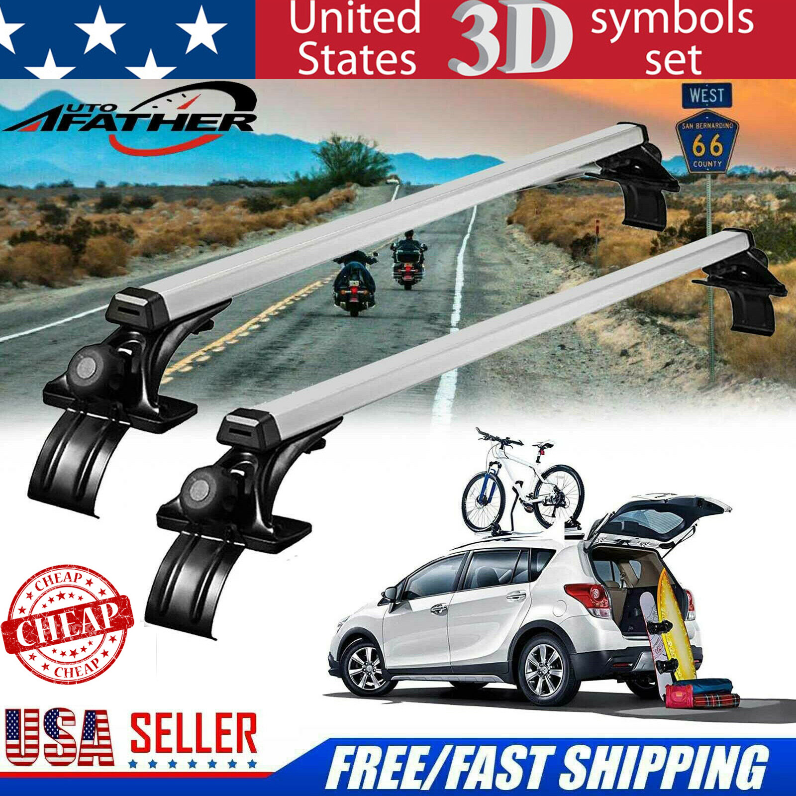 "Pair 47/"" Inch Car Top Luggage Cross Bar Roof Rack Ski Carrier Fit Toyota Nissan"