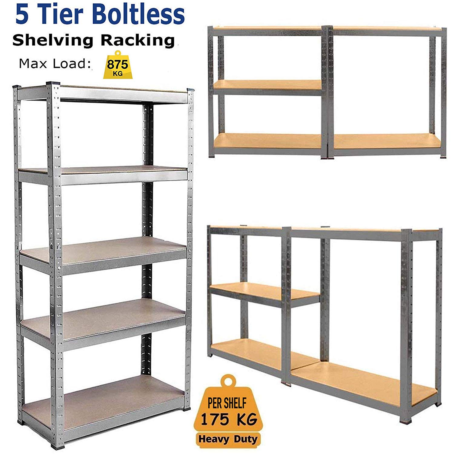 Details About Racking Shelves Garage Shed Storage Shelving Units Car 875kg Capacity