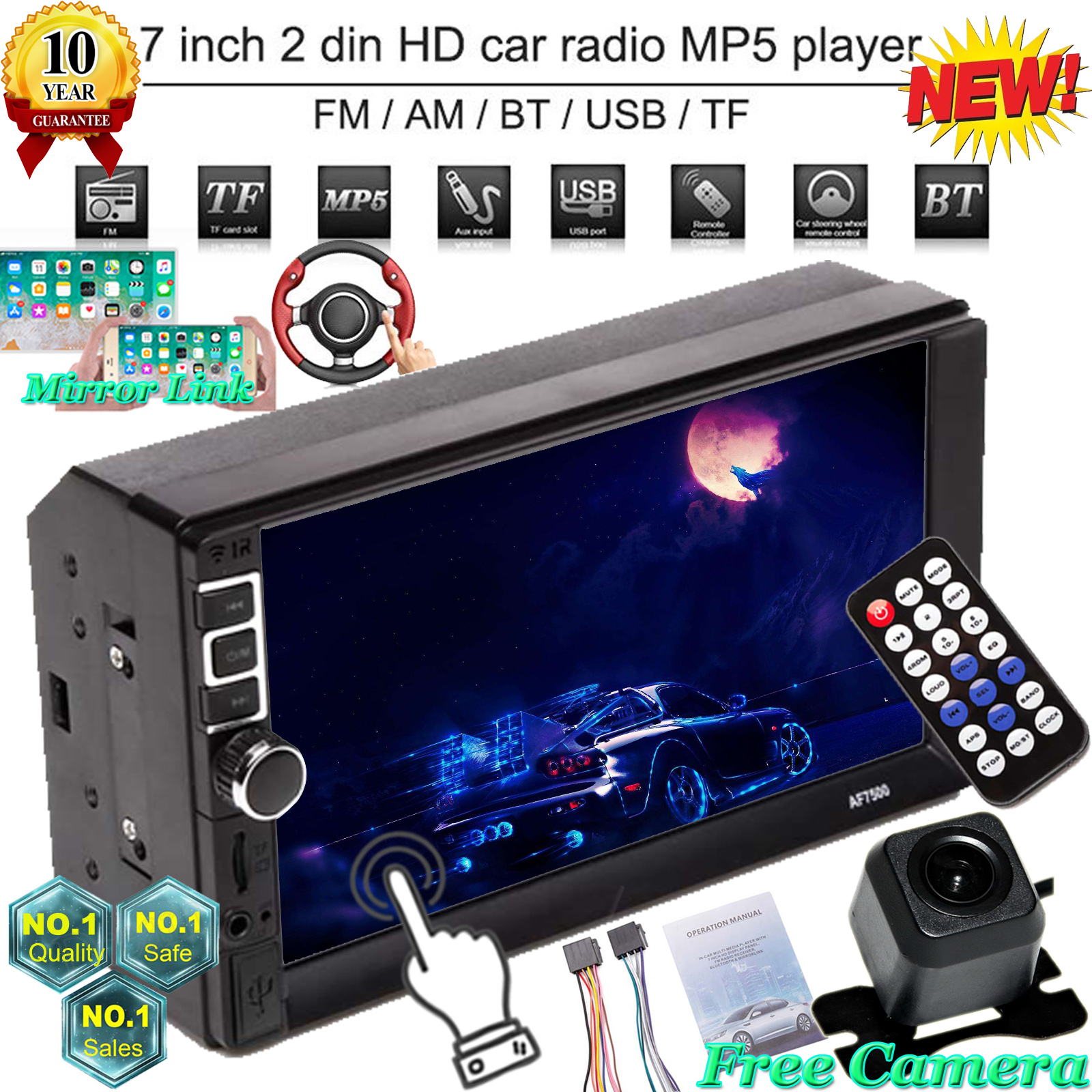 7 inch HD Car Double 2din Mp5 Radio Video Player with GPS USB SD FM Bluetooth BT