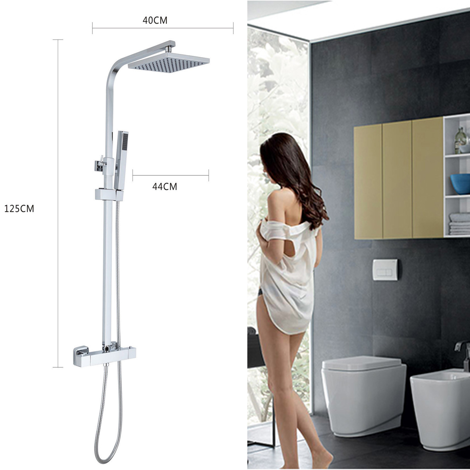 Thermostatic Surface Mounted Mixer Shower Valve Set With Adjustable