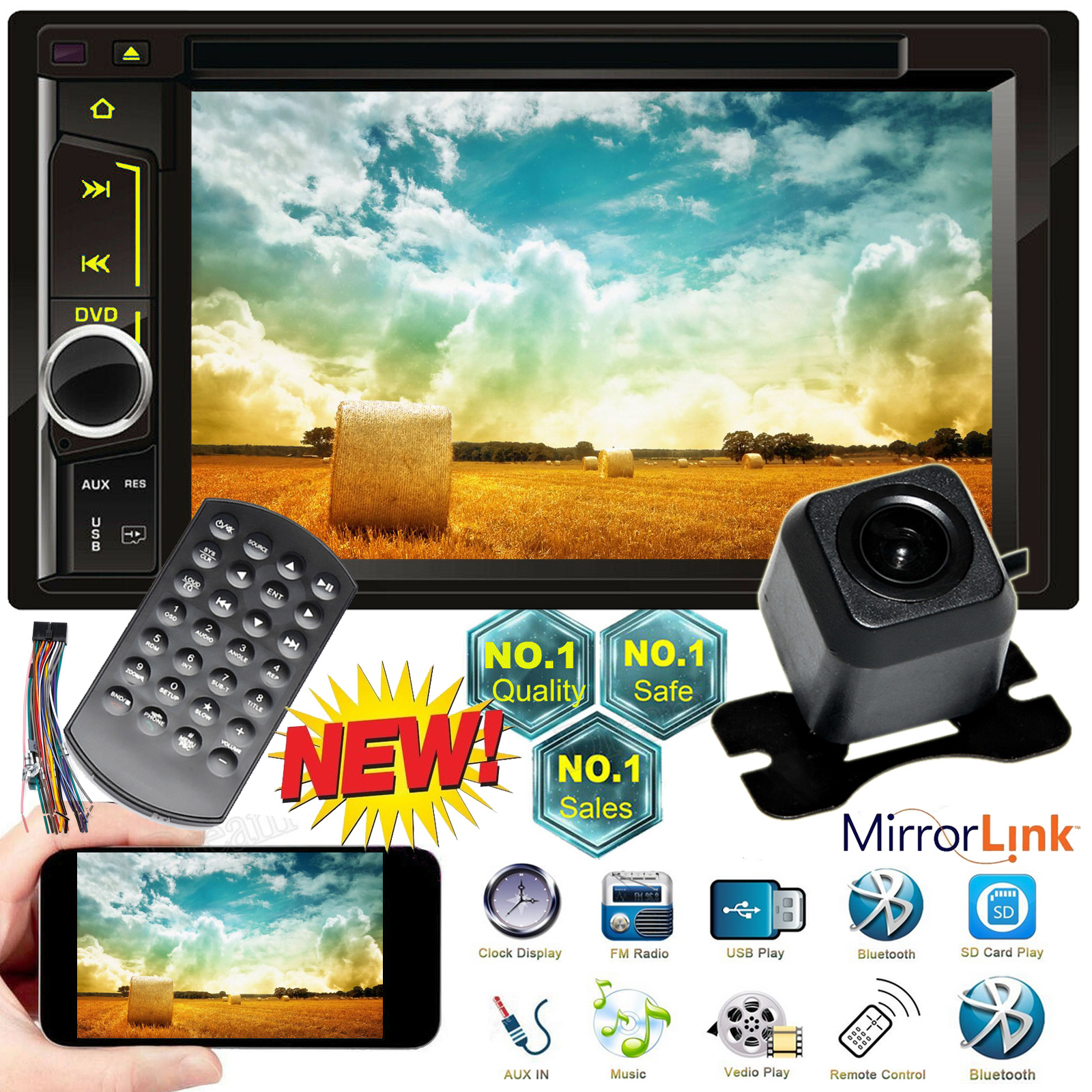 """Double Din 7/"""" Car Stereo MP5 TouchScreen for Toyota RAV4 Camry Tundra+Backup Cam"""