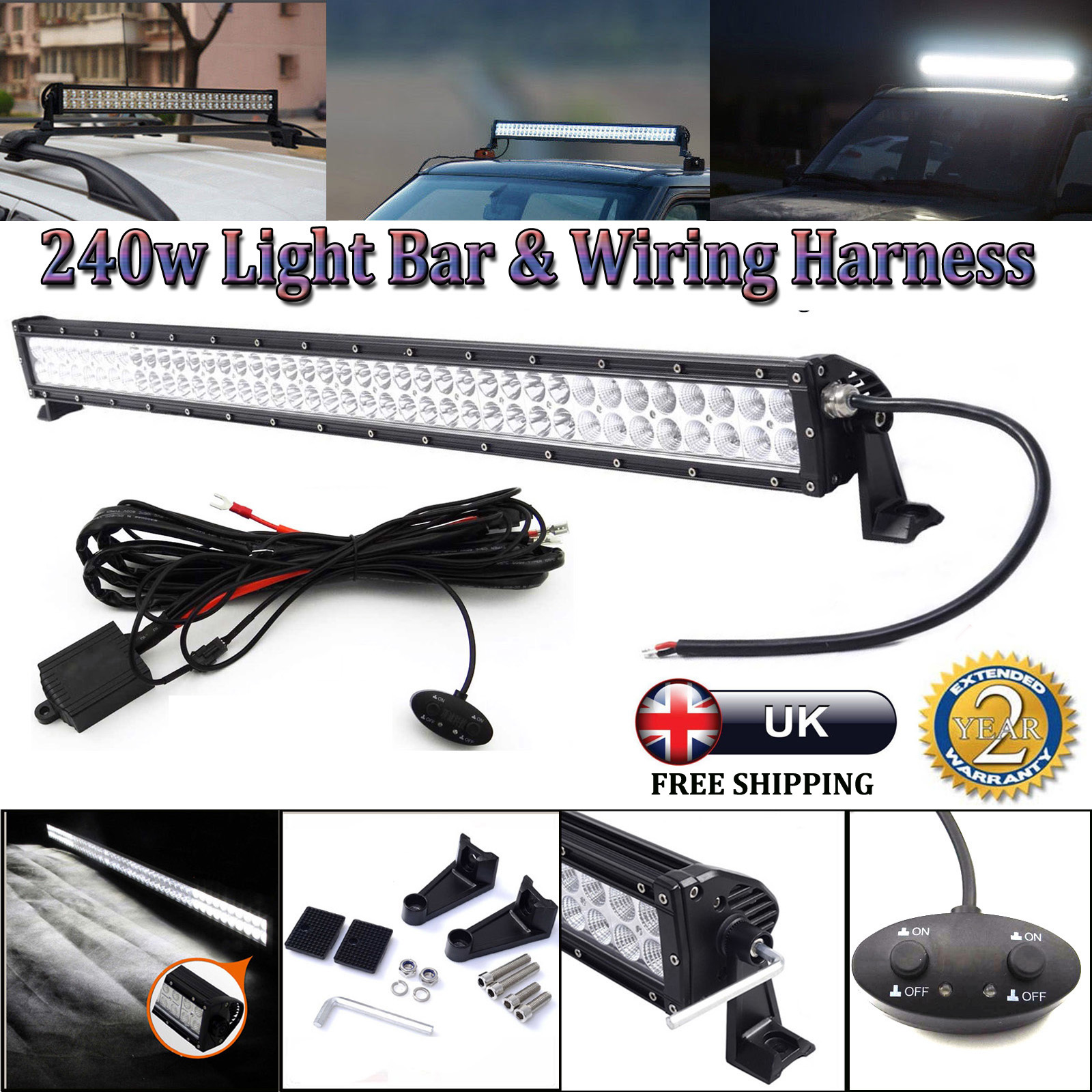 240w 42 Inch Cree Led Driving Work Light Bar Switch Relay Wiring Hid Spot Loom Harness 12v 40a Kit