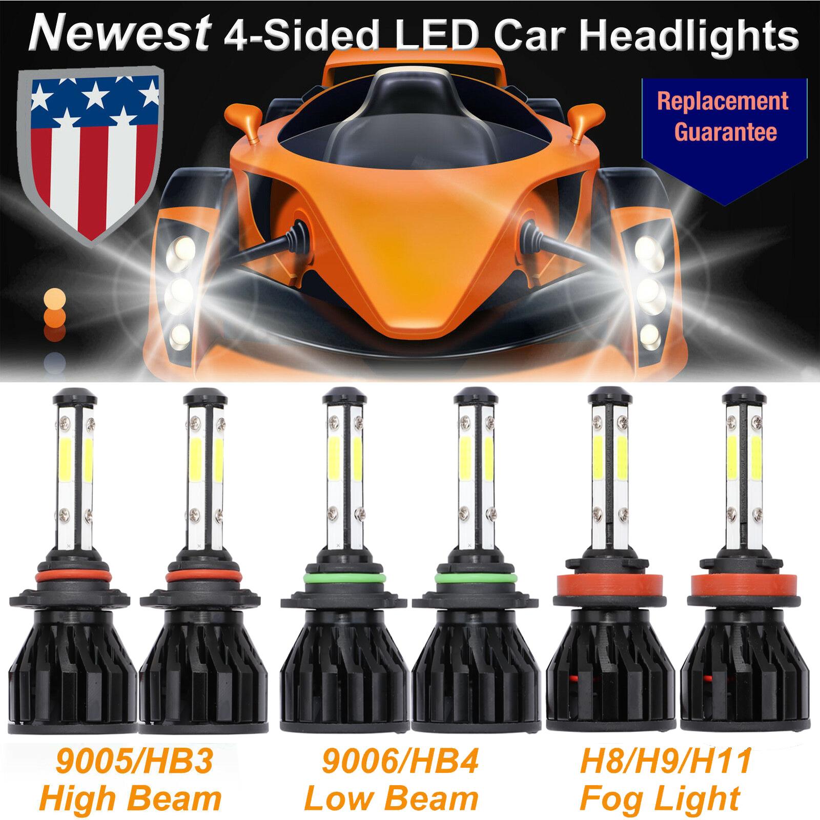 CREE LED Hi//Lo 9005+9006 Headlight Kit Bulb+H11 Fog Light 6500K 6000W Conversion