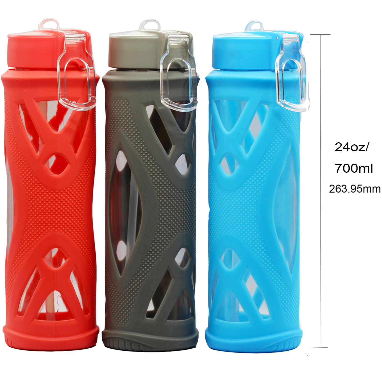 Shockproof Glass Outdoor Sports Water Bottle /& Silicone Sleeve Protective 24oz