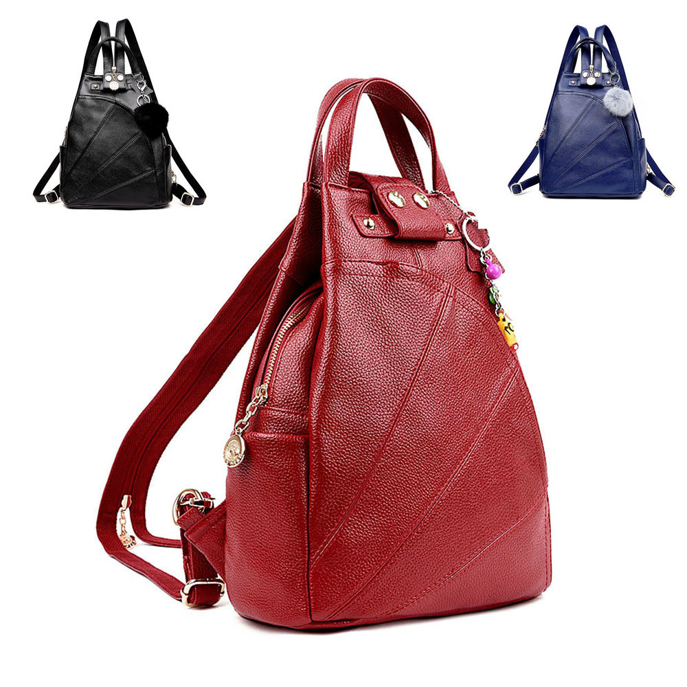 98392822d8e Details about Women Lady Synthetic Leather Backpack Luxury Fashion Shoulder  Bag Rucksack