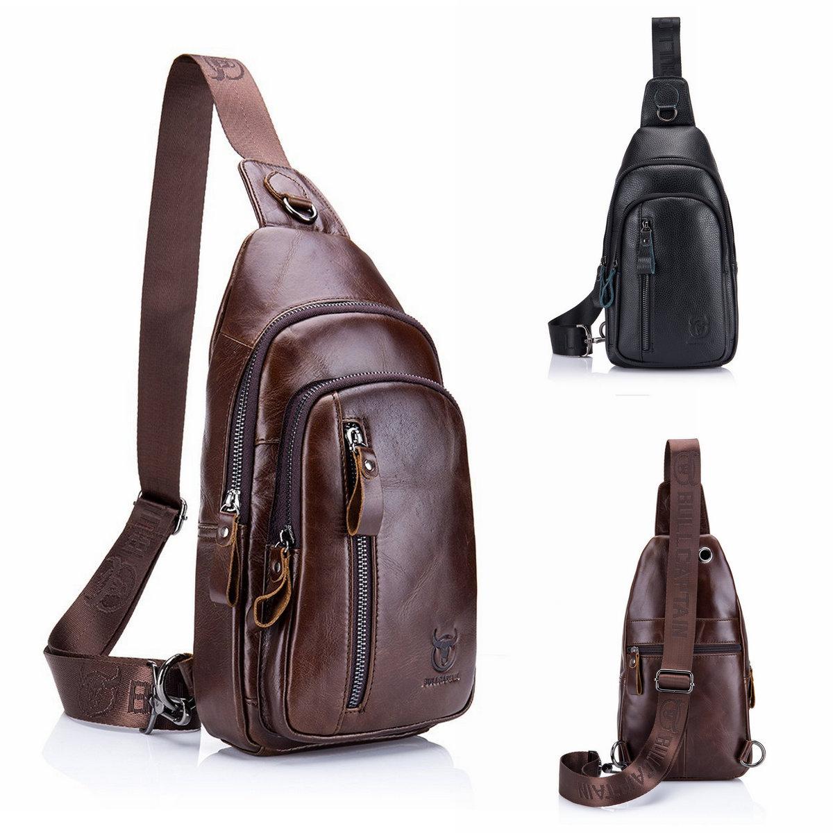Men Leather Chest Sling Shoulder Cross Body Bag Cycle Backpack