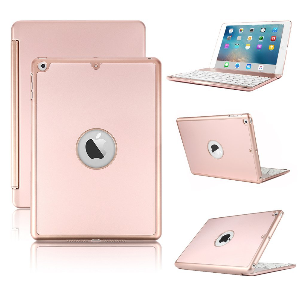 Aluminum 7 Colors BACKLIT Bluetooth Keyboard Smart Case Stand Cover For iPad 9 .