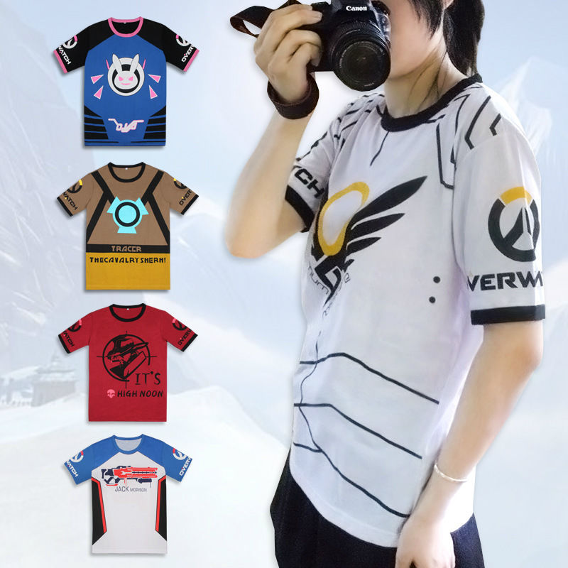 Overwatch D.VA DVA T-shirt Cosplay Anime Tops Cartoon Clothing Short Sleeve  Tee fcda654e4dae9