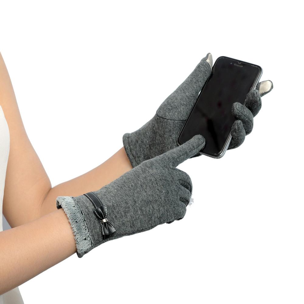 Femme Gants d/'écran Hiver Chaud Nœud doux Poignet Gants Plein doigt Mitaines