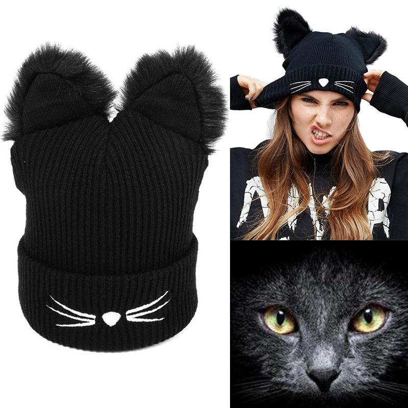 Women Winter Woolen Knitting Beanie Hat Cat Ear Cap Crochet Braided Cap Girls