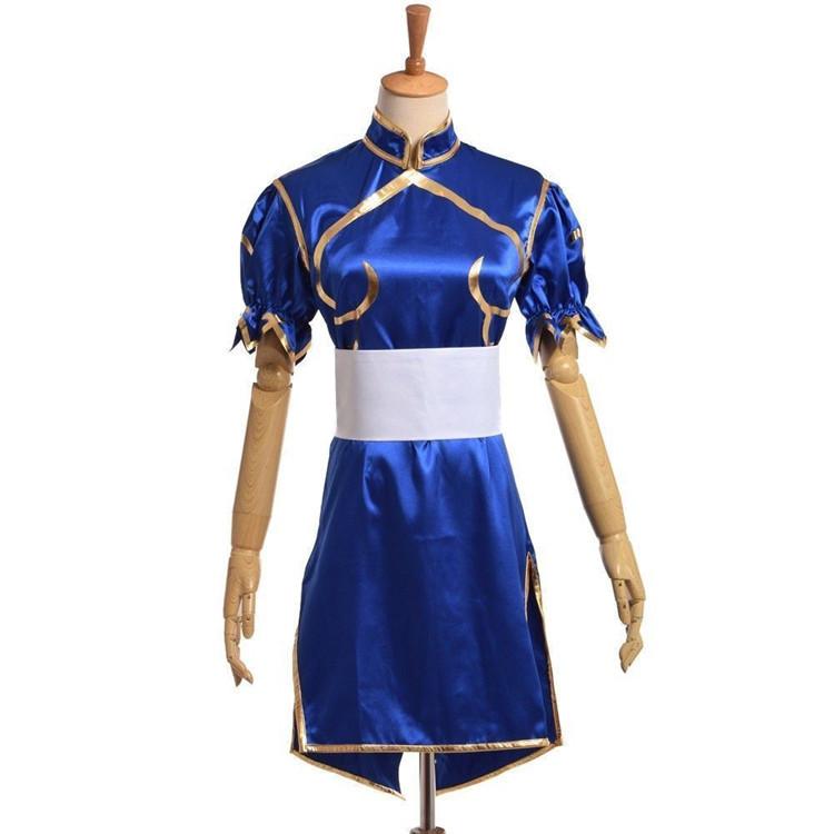 dfe629523 Anime Street Fighter Chun Li Blue Cheongsam Qipao Cosplay Costume Sexy Dress  New