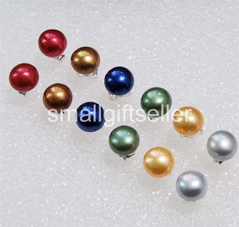 8Set 8Color 8-9mm Akoya Cultured Pearl Earring AAA Grade