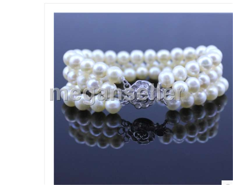 """one  strands  9-10mm south sea round white  pearl bracelet 7.5-8/"""""""