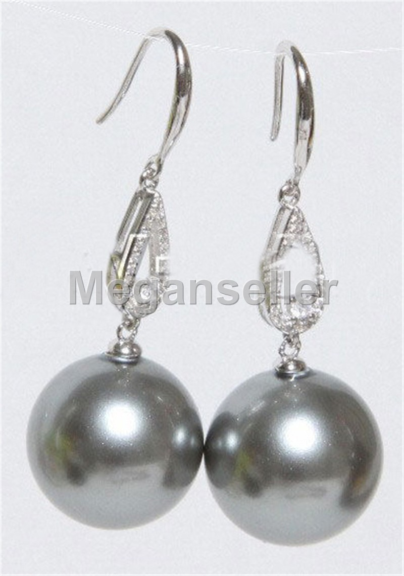 Stunning 14mm Silver Gray South Sea Shell Pearls 14K Gold Plated Earrings