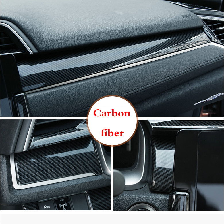 Carbon Fiber Shift Gear Panel Trim Decor Sticker for 10th Honda Civic 2016-2020