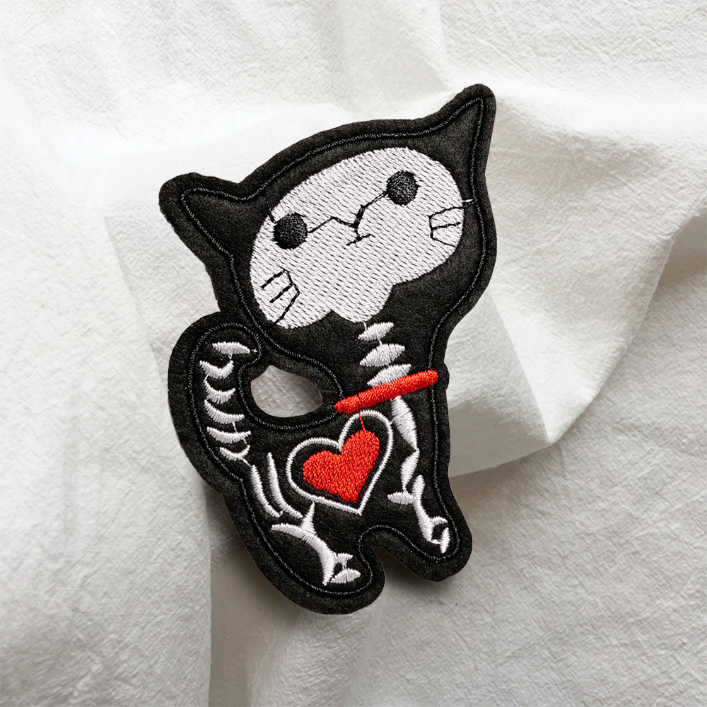 Cat Skeleton Cool colour Iron//Sew on Embroidered Patch