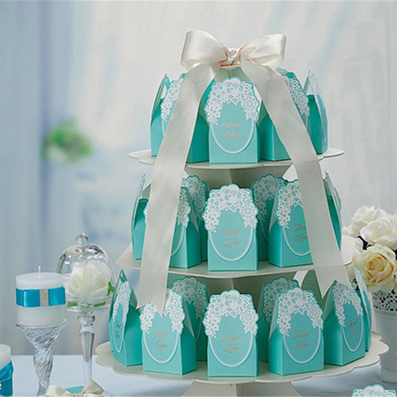 10 Pcs Tiffany Blue Wedding Favor Candy Box Lace Flower Gift Boxes