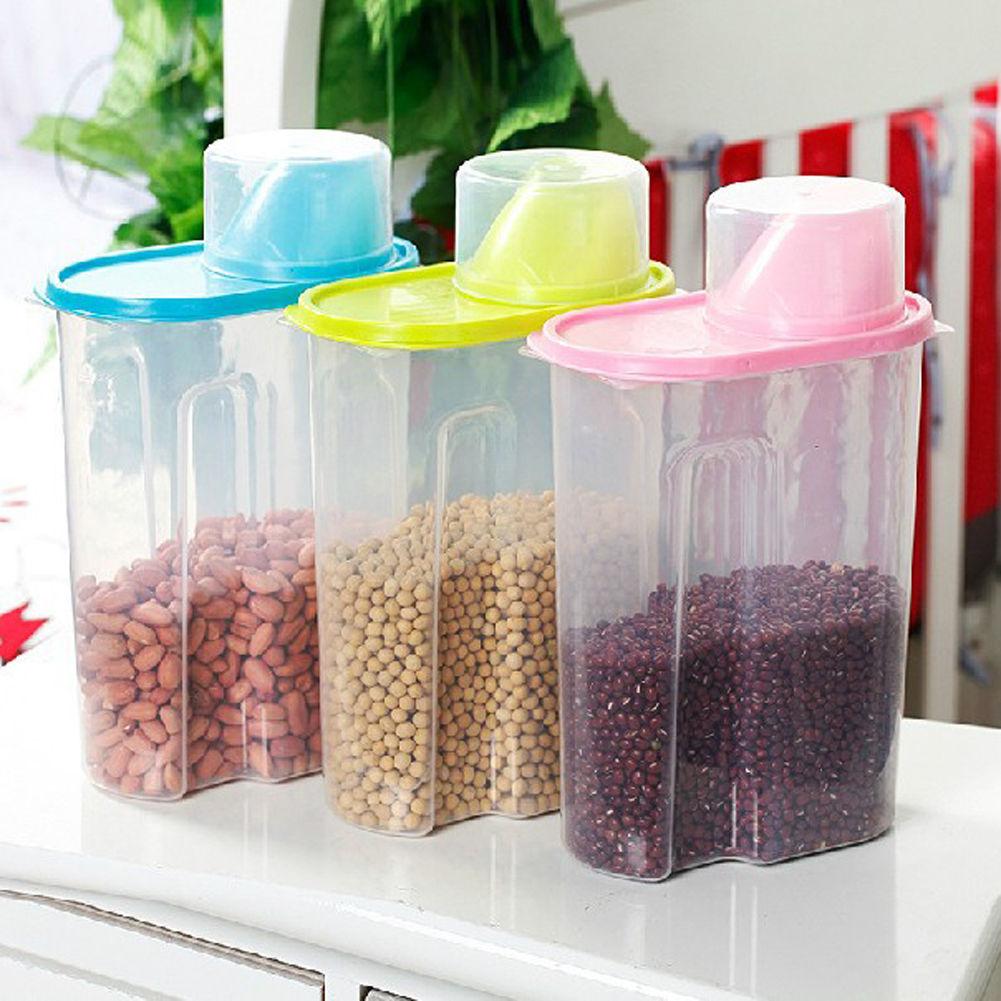 Gentil Details About 2.5L Large Dry Food Storage Container Scoop Plastic Cereal  Pet Dog Cat Dispenser