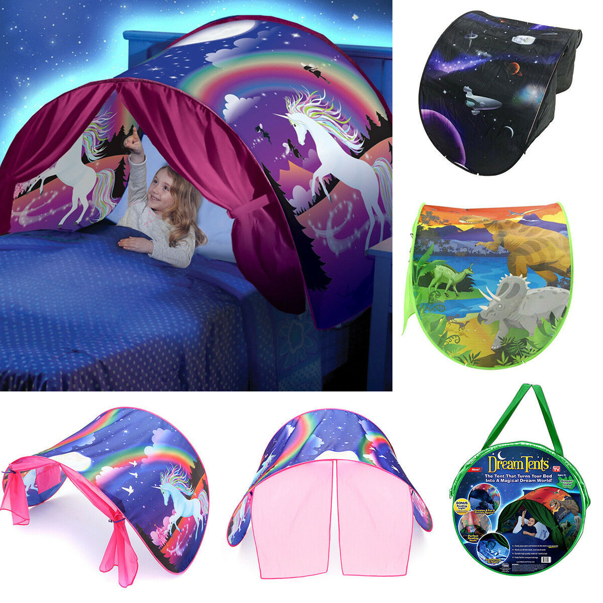 Details about Dream Tents Kids House Unicorn Foldable Tent Pop up Indoor Bed With Light Gift