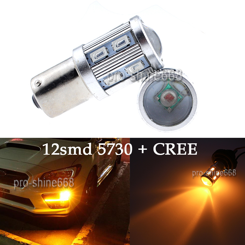 3K Yellow Amber 12SMD CREE 1156 7528 LED Bulbs For Front Rear Turn Signal Light