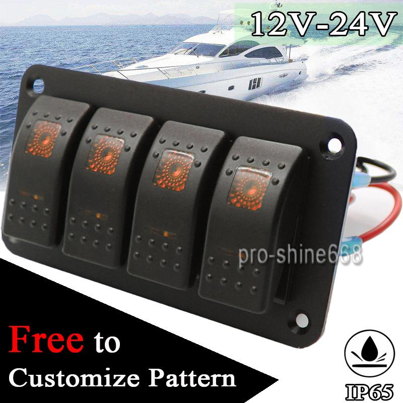 Orange 12-24V 6 Gang Rocker Switch Panel LED Light Bar Switch Panel Waterproof Professional Design for Car RV Boat Yacht Marine Easy Installation