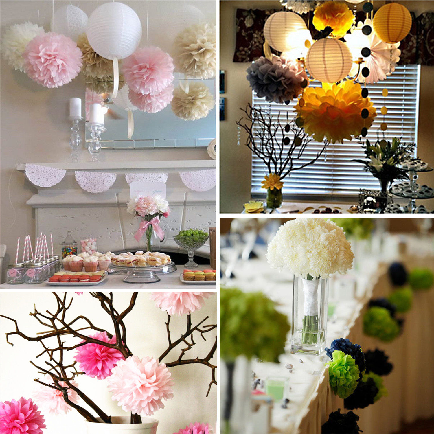 Solid Tissue Paper Pom Poms Flower Ball Wedding Party Birthday Decor