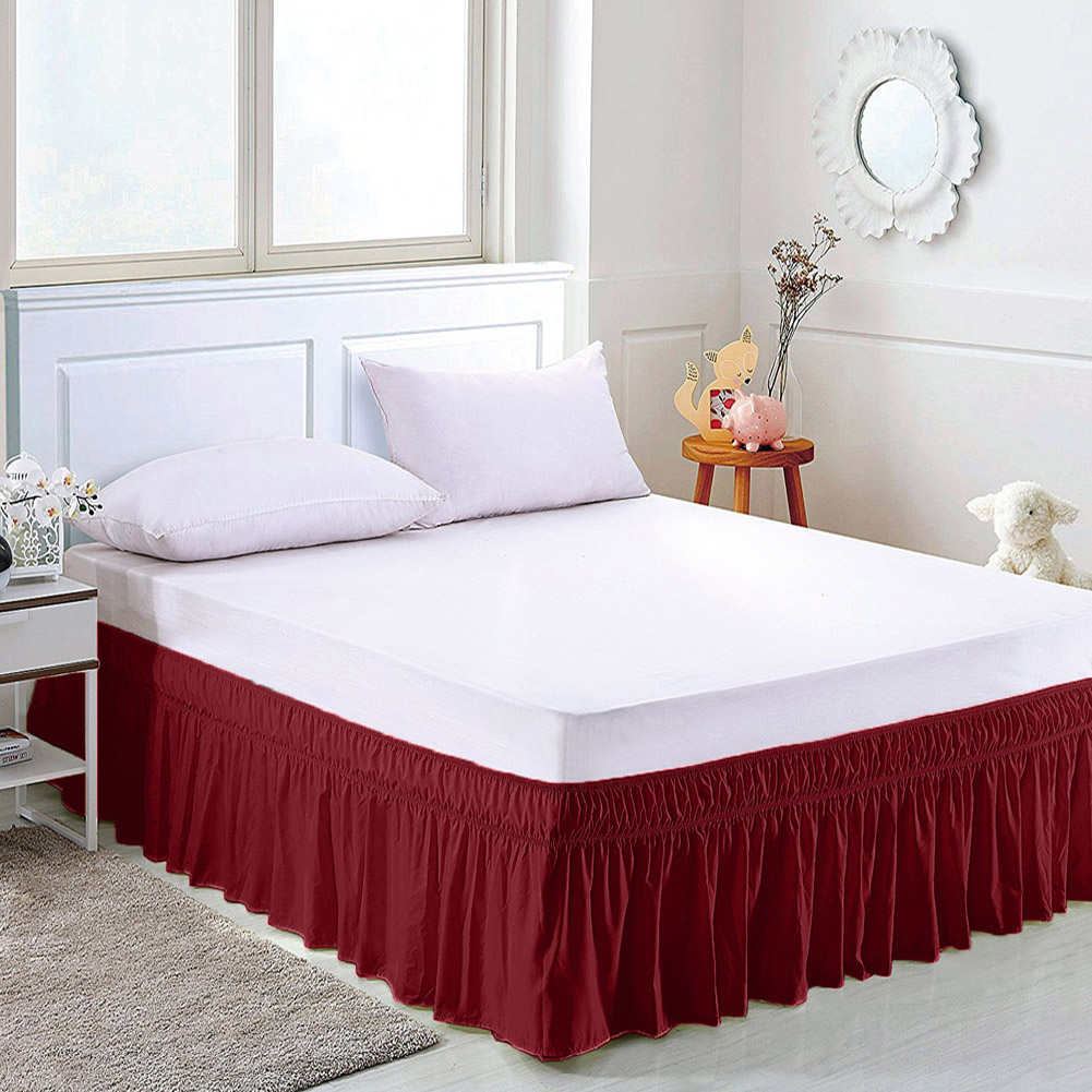 Solid Color Elastic Bed Skirt Hollow Ruffle Bed Cover Twin
