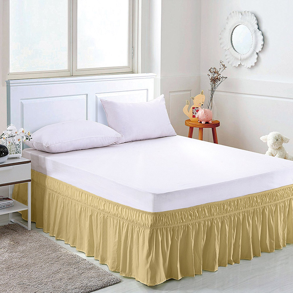 solid color elastic bed skirt hollow ruffle bed cover twin full queen king size ebay. Black Bedroom Furniture Sets. Home Design Ideas