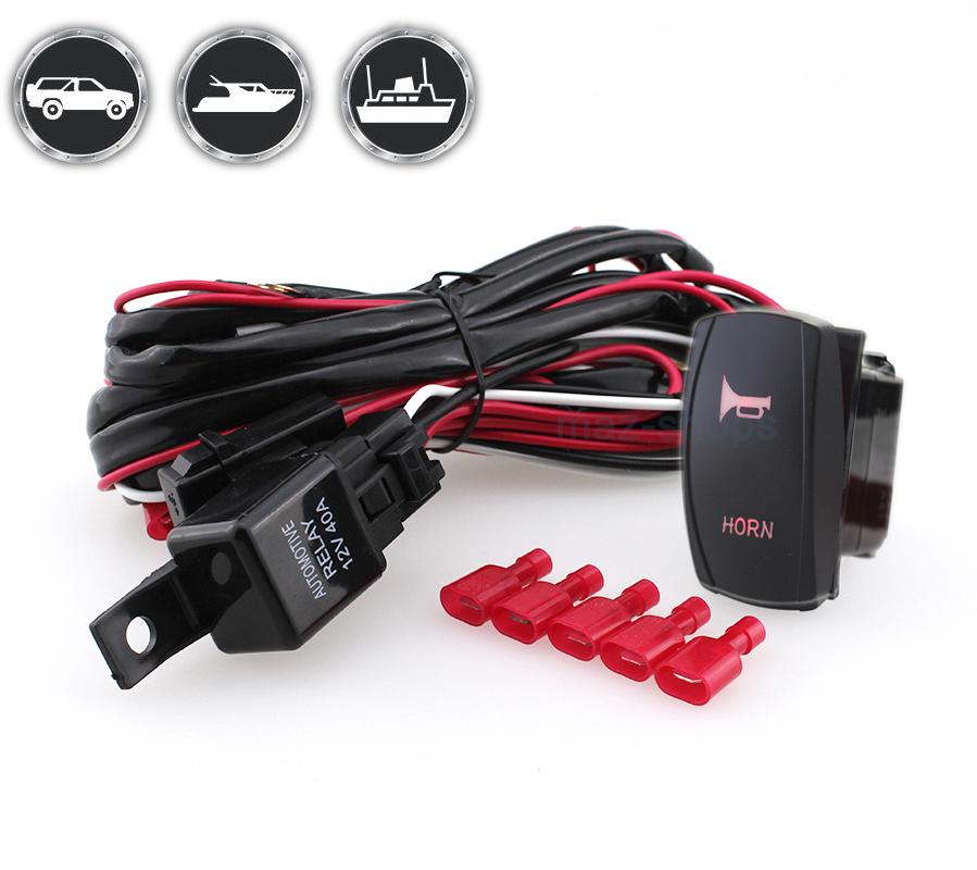 12v 24v 5pin Red Horn On Off Laser Rocker Switch W   Wiring