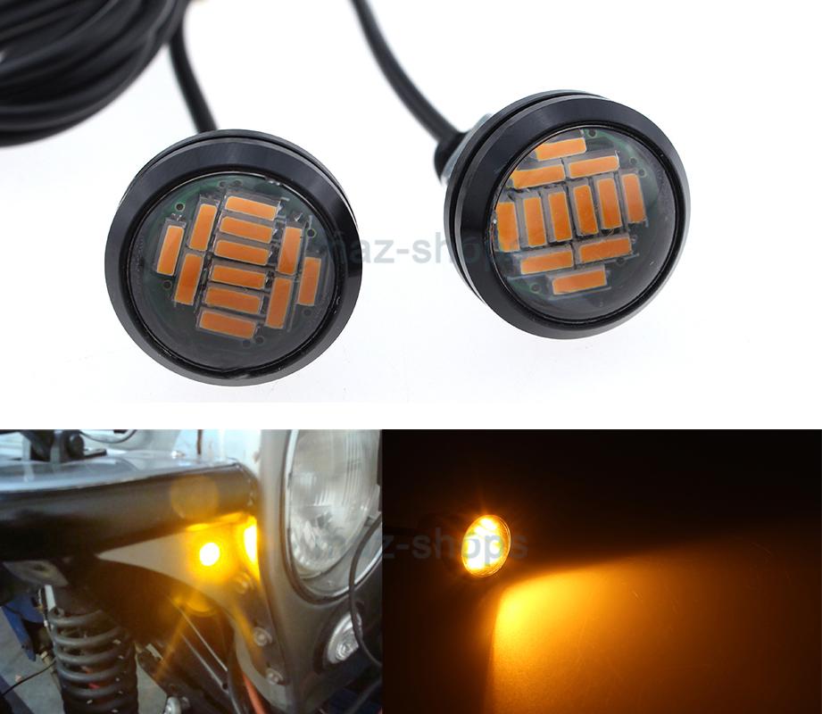 2Pcs Tube Fender AMBER LED Turn Signal Indicators For Jeep TJ CJ JK YJ Wrangler