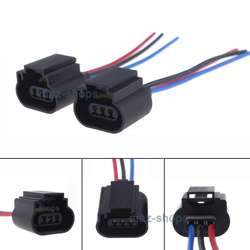 Details about 2Pcs H13 9008 H13LL Socket Adapter Wiring Harness Pigtail on