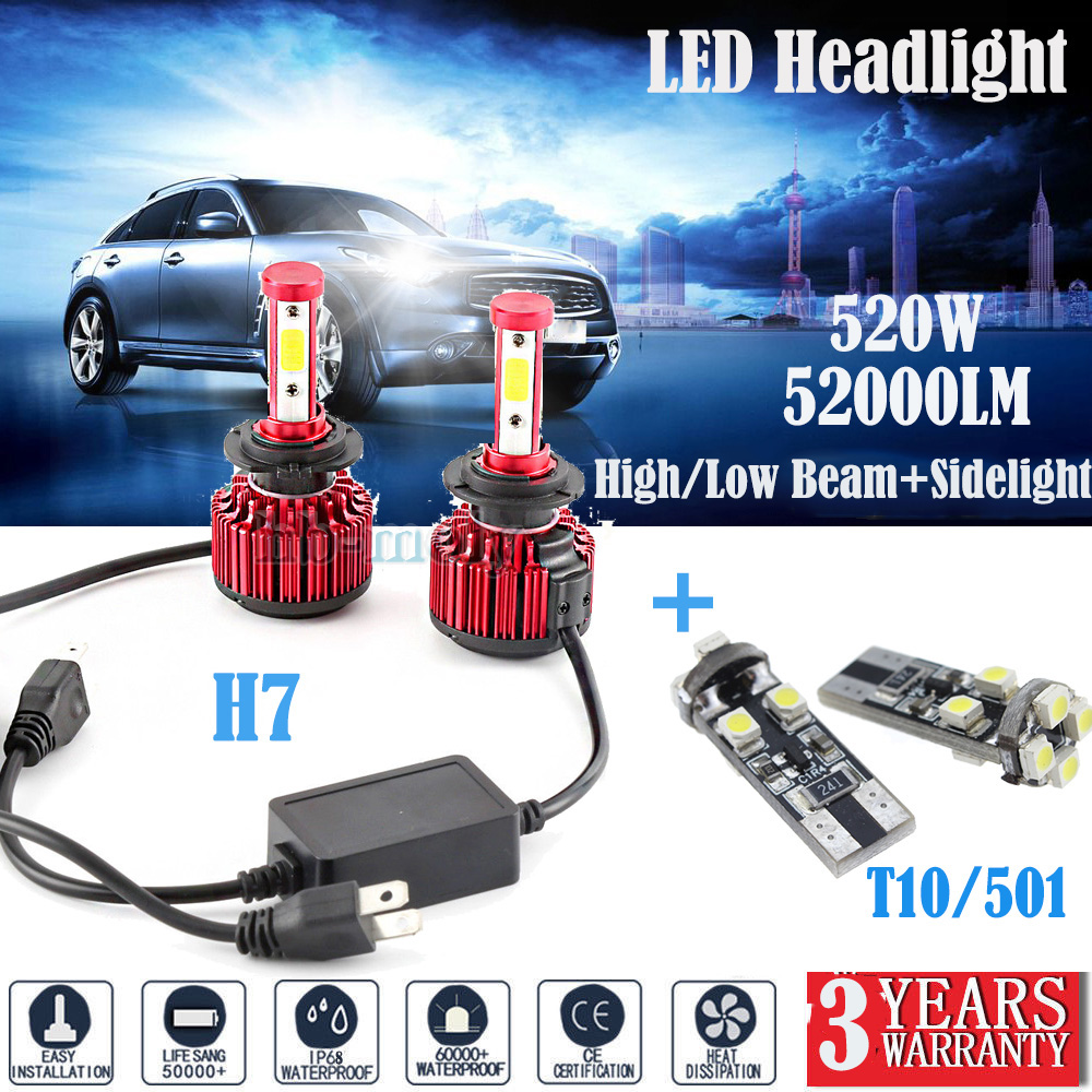 For Mini Cooper R50 H7 501 55w Super White Xenon Low//Canbus LED Side Light Bulbs