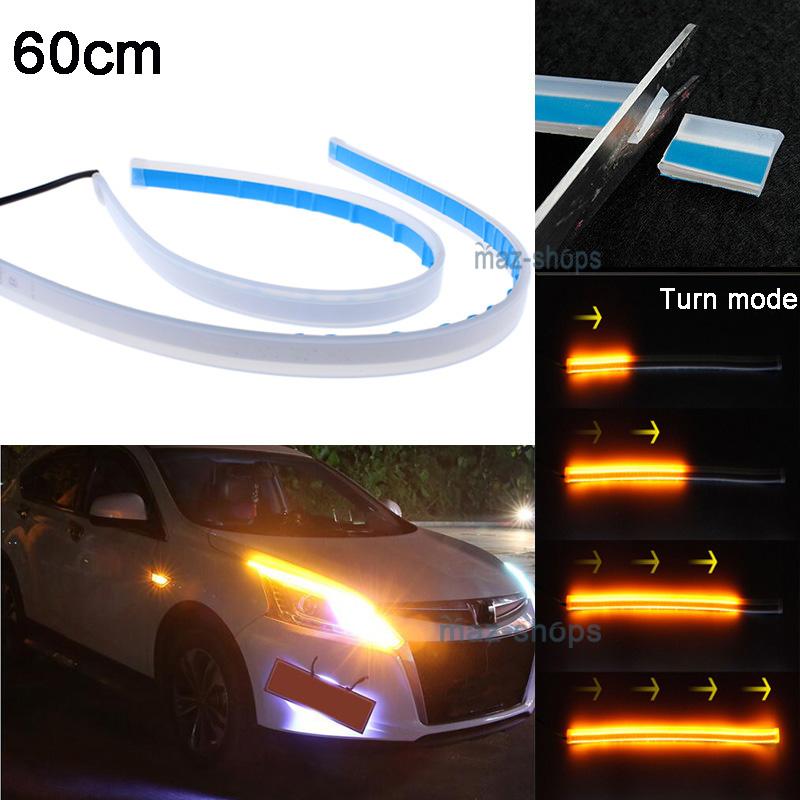 Details About 2pcs 60cm Led Light Strips Tube Switchback White Amber Flexible Drl Turn Signal