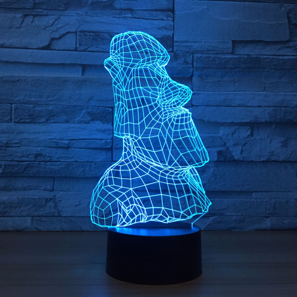 Details about Holy 3D Easter Moai Ahu 7 colors led table night lights  bedroom usb lamp gift