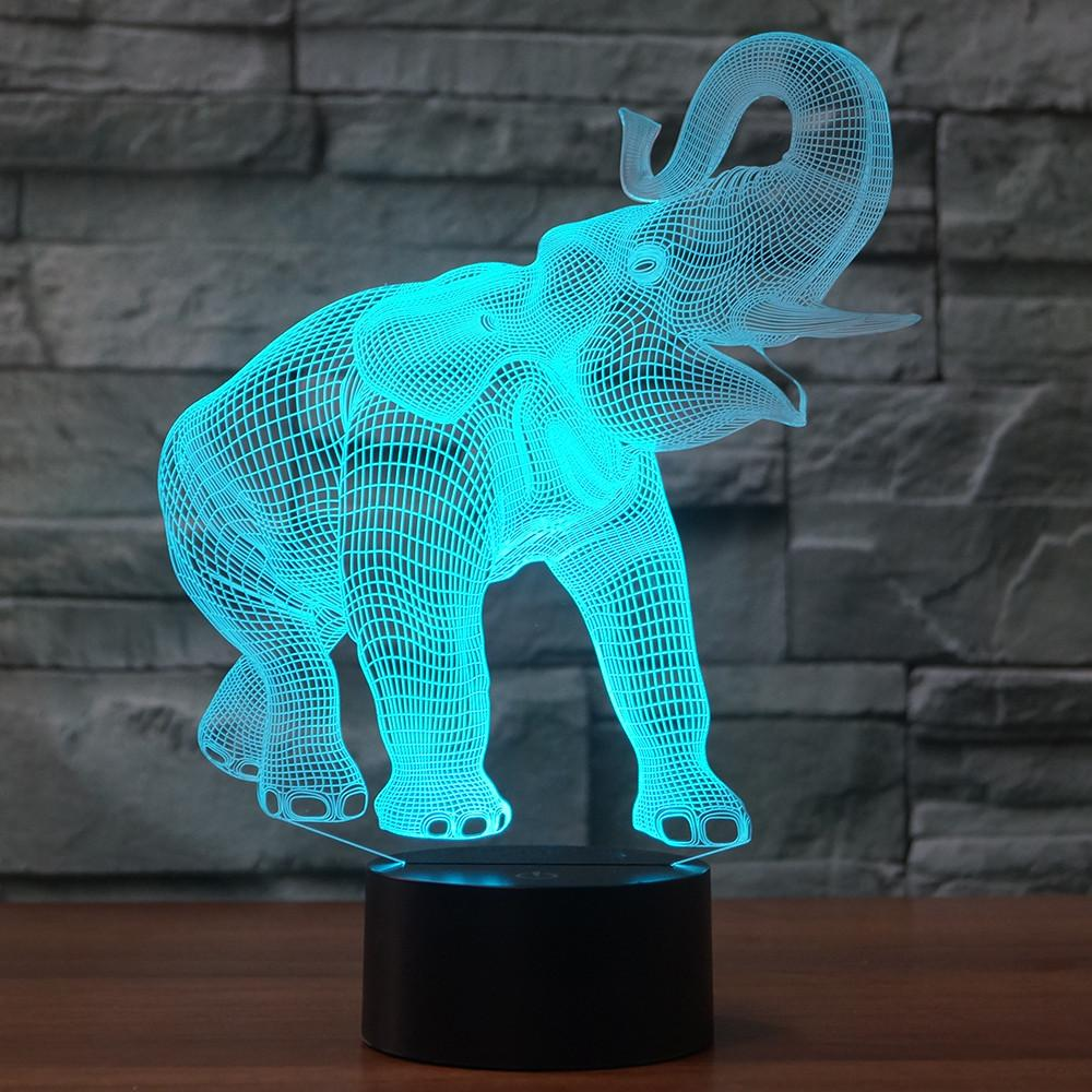 3d Roar Elephant 7 Color Power Led Touch Table Night Light Bedroom