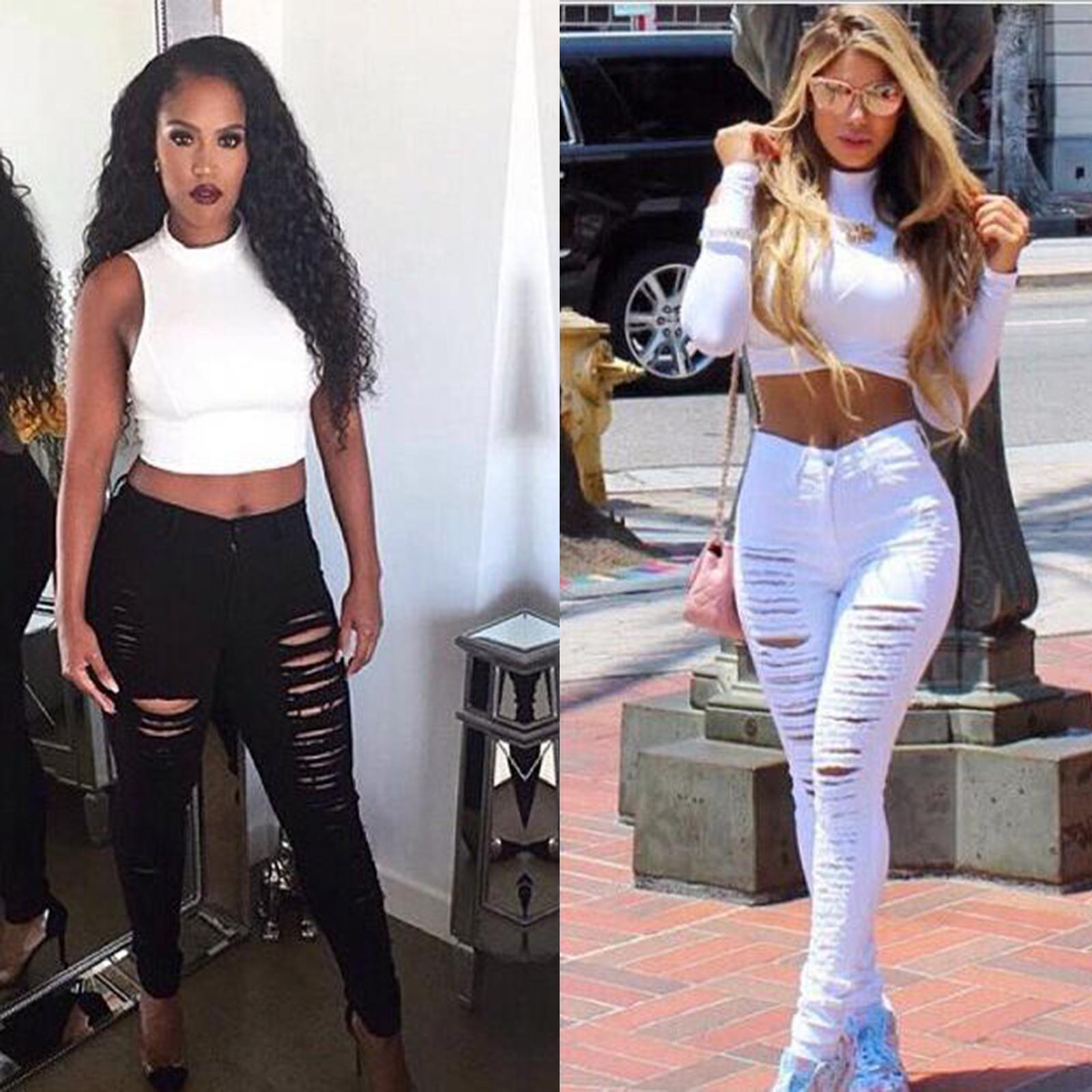 Women Skinny Ripped Holes Jeans Pants High Waist Stretch Slim Pencil Trousers Ebay