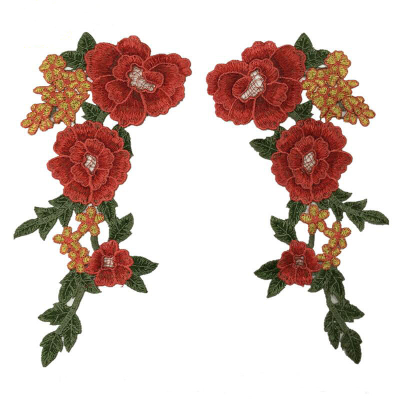 Iron On Rose Embroidered Applique Pair Flowers Patch Lace Collar Sew Clothes DIY