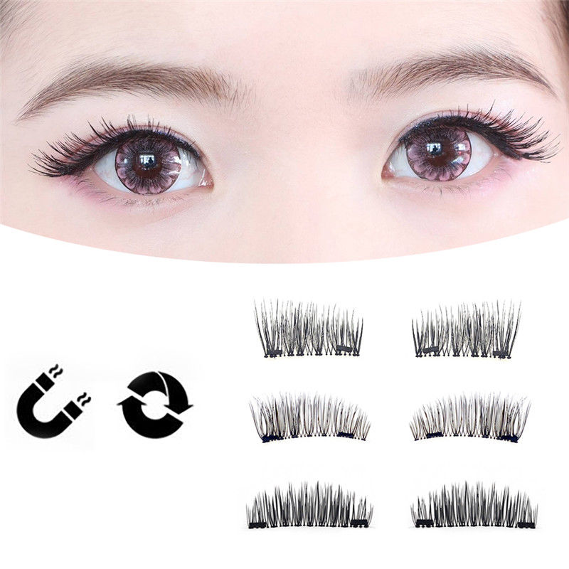 6ba2d2ced47 Details about 4Pcs 3D Double Magnet Soft False Eyelashes Fake Eye Lash  Synthetic Fiber Makeup
