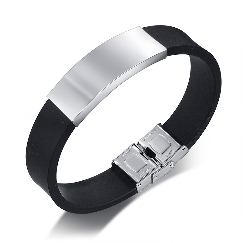 8acc7de2474c8 Details about Men's Silicone Bracelet Male Stainless Steel Personalized  Band Bangle Jewelry