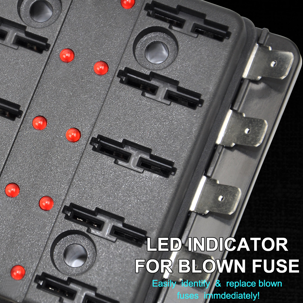 10 Way Blade Fuse Box Holder Block W Led Indicators Circuit Caravan Help High Quality